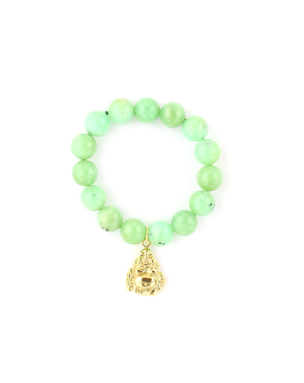 Gold Buddha Light Chrysoprase Bracelet