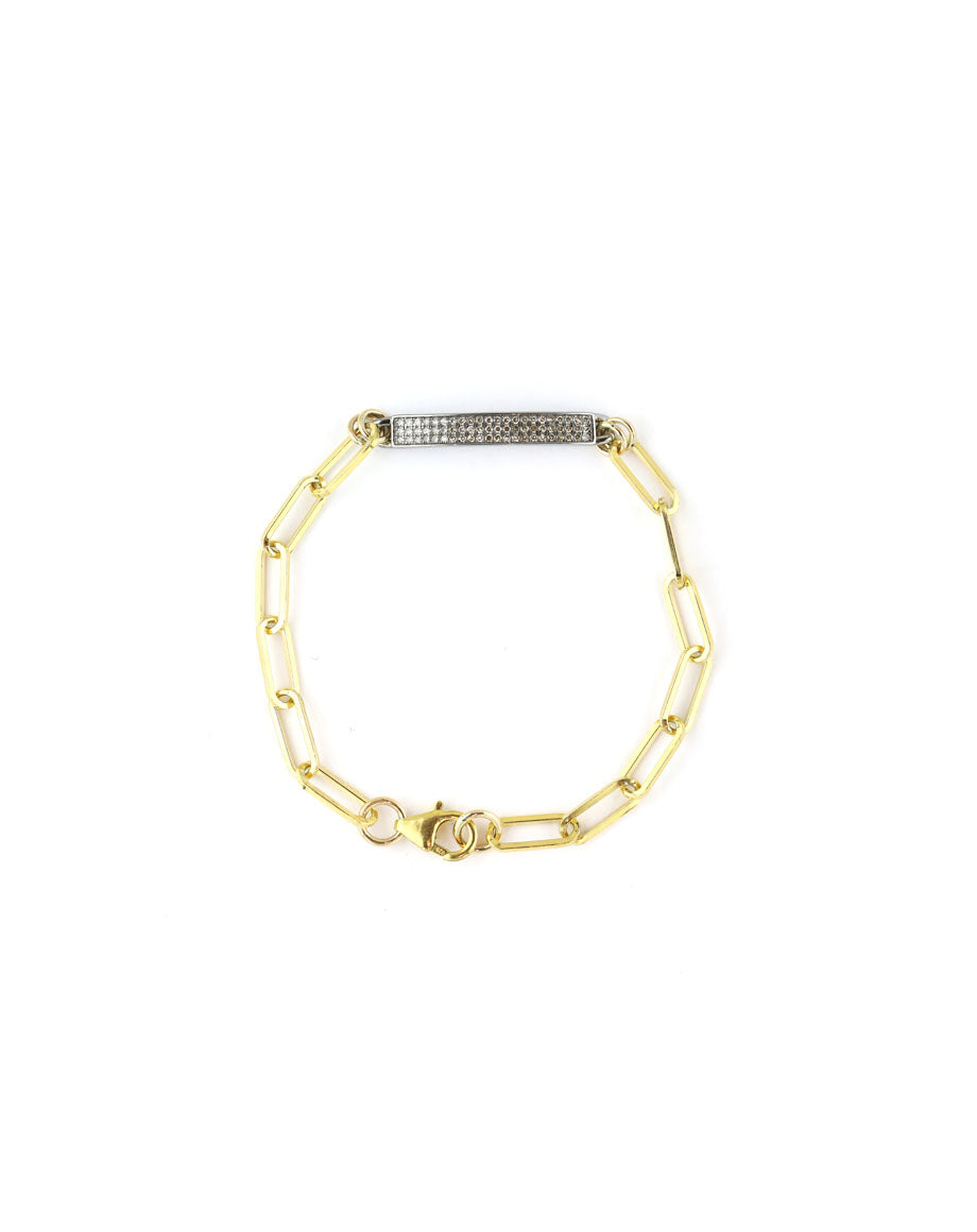 Mixed Metal Pave Diamond ID Paper Clip Bracelet