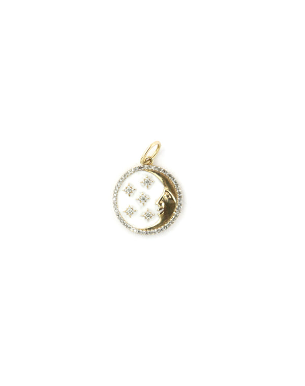 14K Gold White Enamel Moon Star Charm