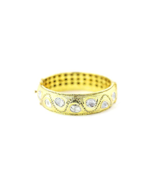 Ornate Swirl Gold Polki Diamond Bangle