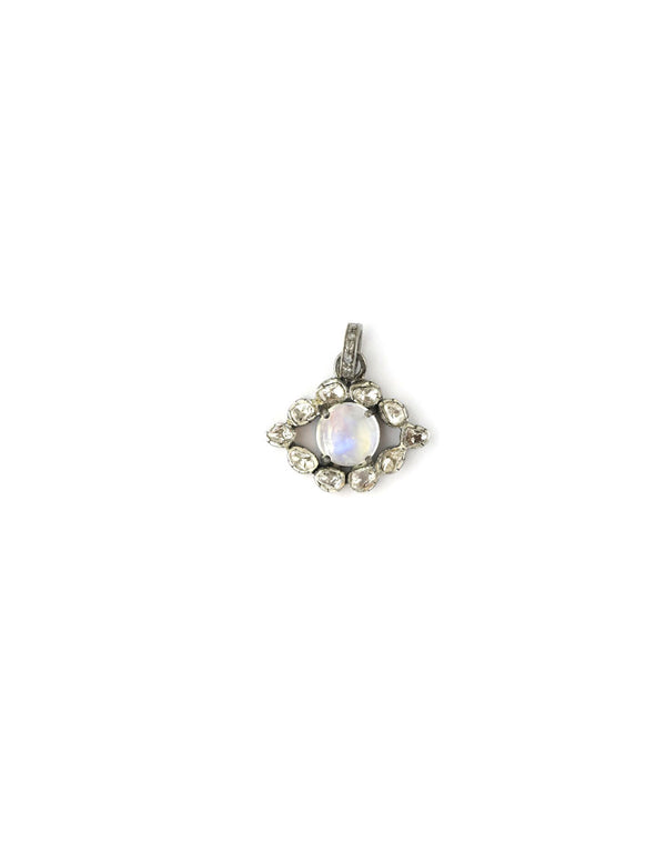 Mini Polki Diamond Moonstone Evil Eye Charm