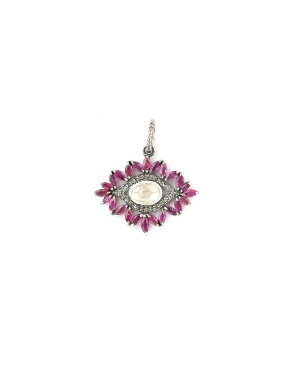 Ruby Polki Diamond Evil Eye Charm