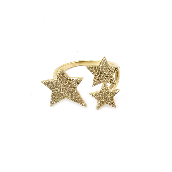 14K Gold Pave Diamond Triple Star Ring