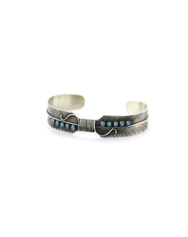 Byron Begay Feather Dotted Turquoise Cuff