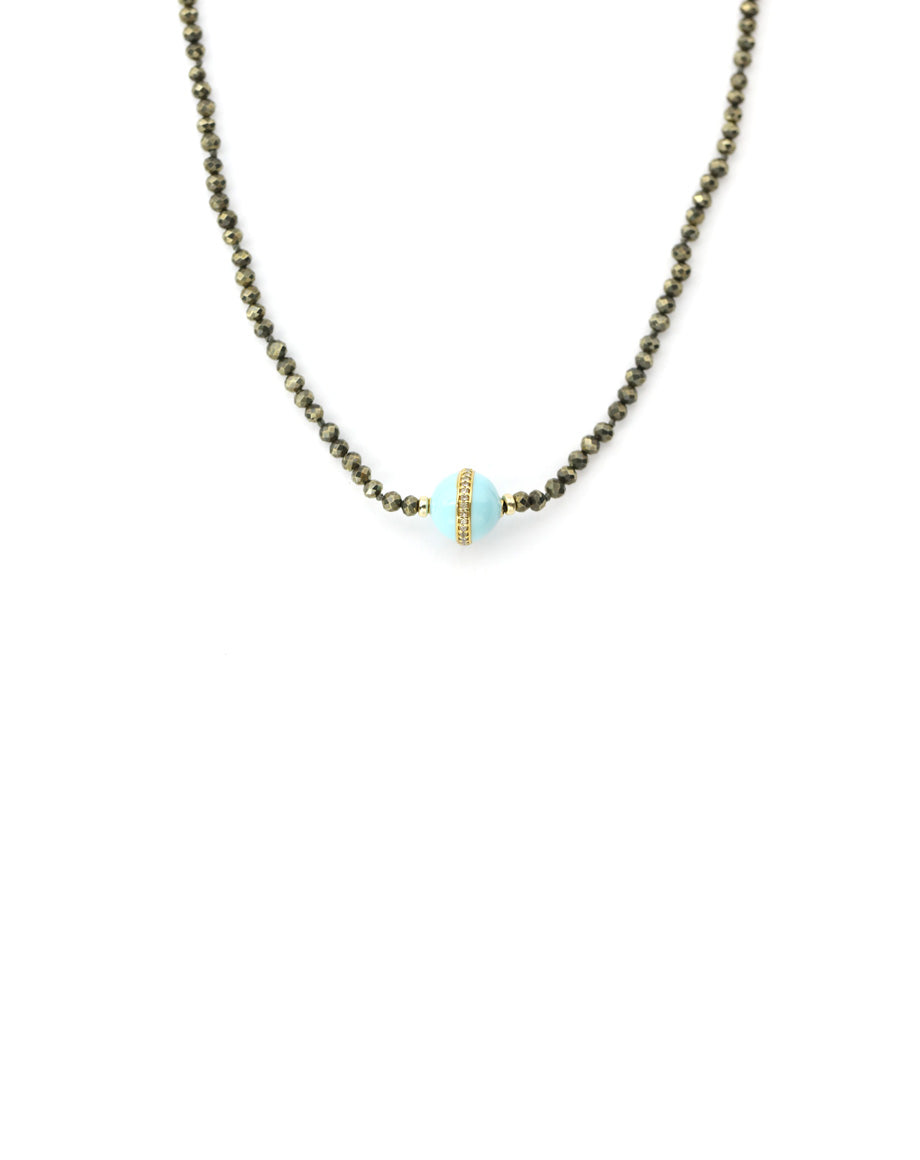 Turquoise Enamel Pyrite Necklace