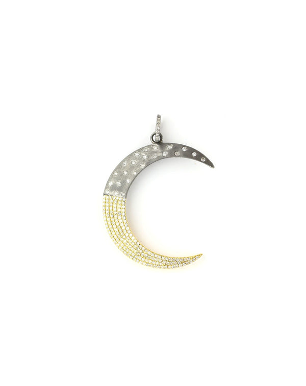 14K Gold Two Toned Large Crescent Moon Charm