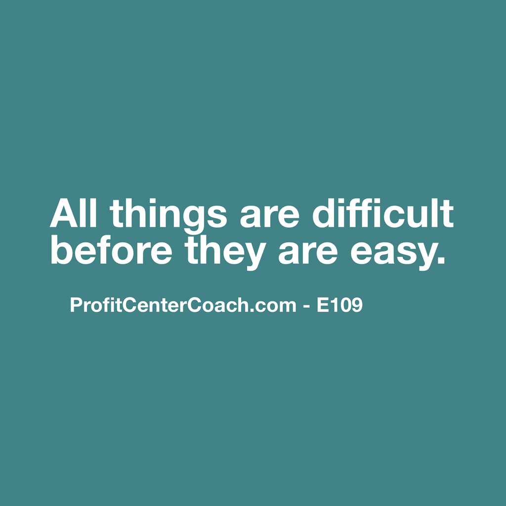 "E109 - Social Square 12"" x 12"" Inspirational Canvas Wall Hanging - ""All things are difficult before they are easy."""
