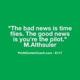 "E117 - Social Square 12"" x 12"" Inspirational Canvas Wall Hanging - ""The bad news is time flies. The good news is you're the pilot."""