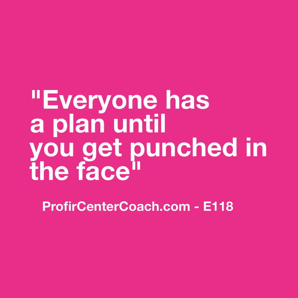 "E118 - Social Square 12"" x 12"" Inspirational Canvas Wall Hanging - ""Everyone has a plan until you get punched in the face."""