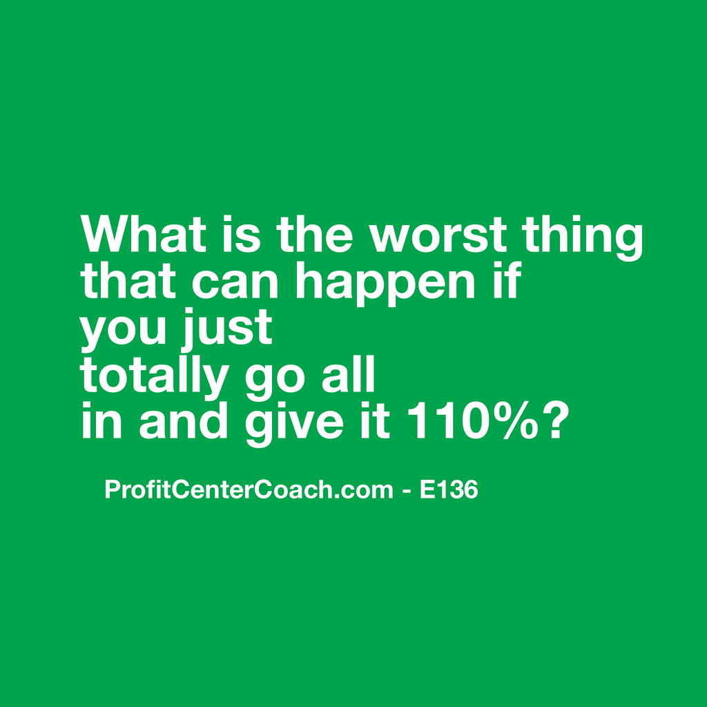 "E136 - Social Square 12"" x 12"" Inspirational Canvas Wall Hanging - ""What is the worst thing that can happen if you just totally go all in and give it 110%?"""