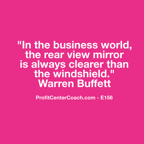 "E156 - Social Square 12"" x 12"" Inspirational Canvas Wall Hanging - ""In the business world, the rear view mirror is always cleaner than the windshield."" Warren Buffett"