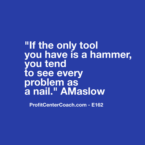 "E162 - Social Square 12"" x 12"" Inspirational Canvas Wall Hanging - ""If the only tool you have is a hammer, you tend to see every problem as a nail."" A Maslow"