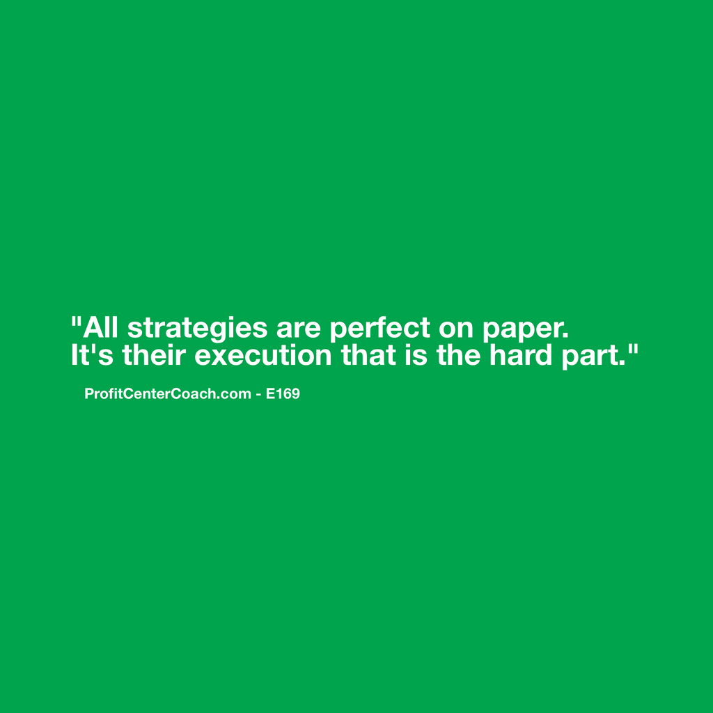 "E169 - Social Square 12"" x 12"" Inspirational Canvas Wall Hanging - ""All strategies are perfect on paper. It's their execution that is the hard part."""