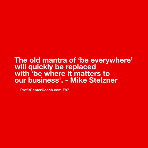 "E97 - Social Square 12"" x 12"" Inspirational Canvas Wall Hanging - ""The old mantra of 'be everywhere' will quickly be replaced with 'be where it matters to your business'"" - Mike Stelzner"""