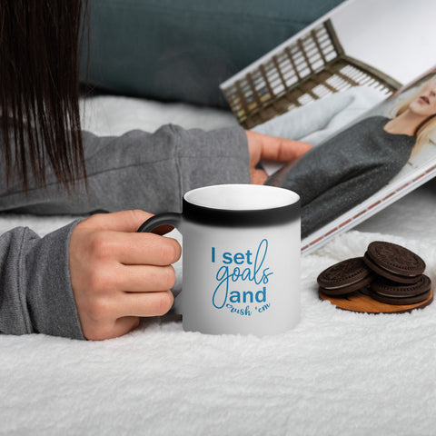 I Set Goals and Crush Em - Matte Black Magic Mug