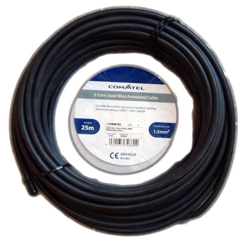 3 Core Steel Wire Armoured Cable 25m