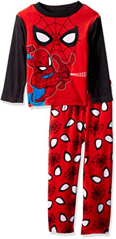 Marvel Little Boys' Spiderman 2-Piece Fleece Pajama Set, Spidey Eyes, 4