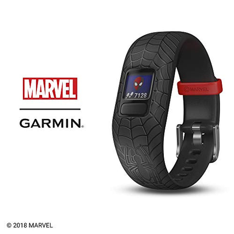 Garmin vívofit jr 2, Kids Fitness/Activity Tracker, Marvel Spider-Man, Red, 1-Year Battery Life