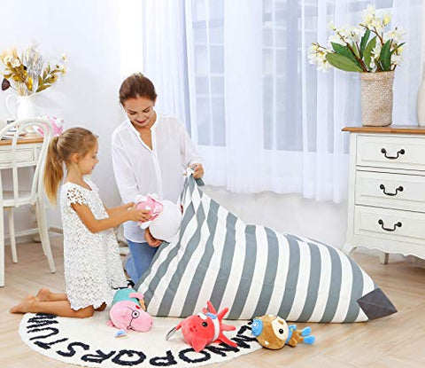 Fabulous Aubliss Stuffed Storage Bean Bag Chair Plush Animal Toy Organizer For Kids Girls And Children Extra Large 23 Inch Long Ykk Zipper Premium Squirreltailoven Fun Painted Chair Ideas Images Squirreltailovenorg