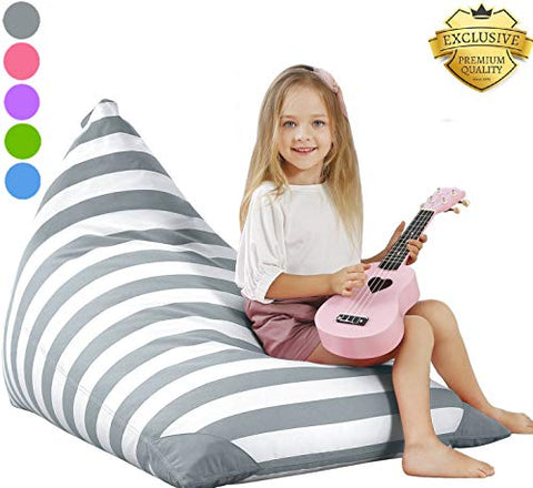 Aubliss Stuffed Storage Bean Bag Chair - Plush Animal Toy Organizer for Kids, Girls and Children | Extra Large | 23 Inch Long YKK Zipper | Premium Cotton Canvas Grey