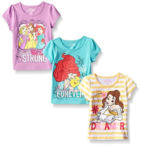 Disney Little Girls' 3 Pack Princess T-Shirts, Yellow, 4