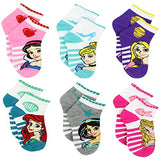 Disney Princess Girls Teen Womens 6 pack Socks (6-8 Girls (Shoe: 10-4), Princess Stripes Quarter)