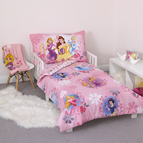 Disney Pretty Princess Toddler Bed, 4 Piece Set, Pink