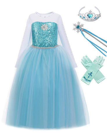 MUABABY Girls Ice Snow Queen Sequin Princess Upgrade Deluxe Costume Long Sleeve Elsa