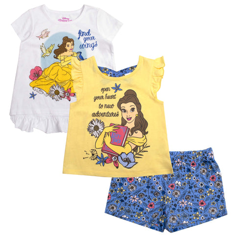 Disney Girls 3PC Shirts and Short Set: Wide Variety Includes Minnie, Frozen, and Princess