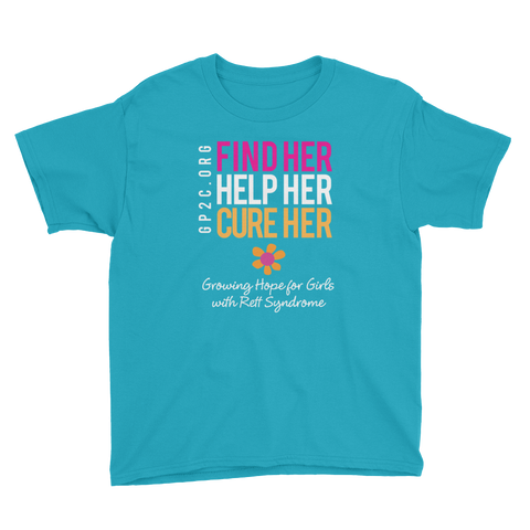 Youth Short Sleeve T-Shirt- Find Her. Help Her. Cure Her.