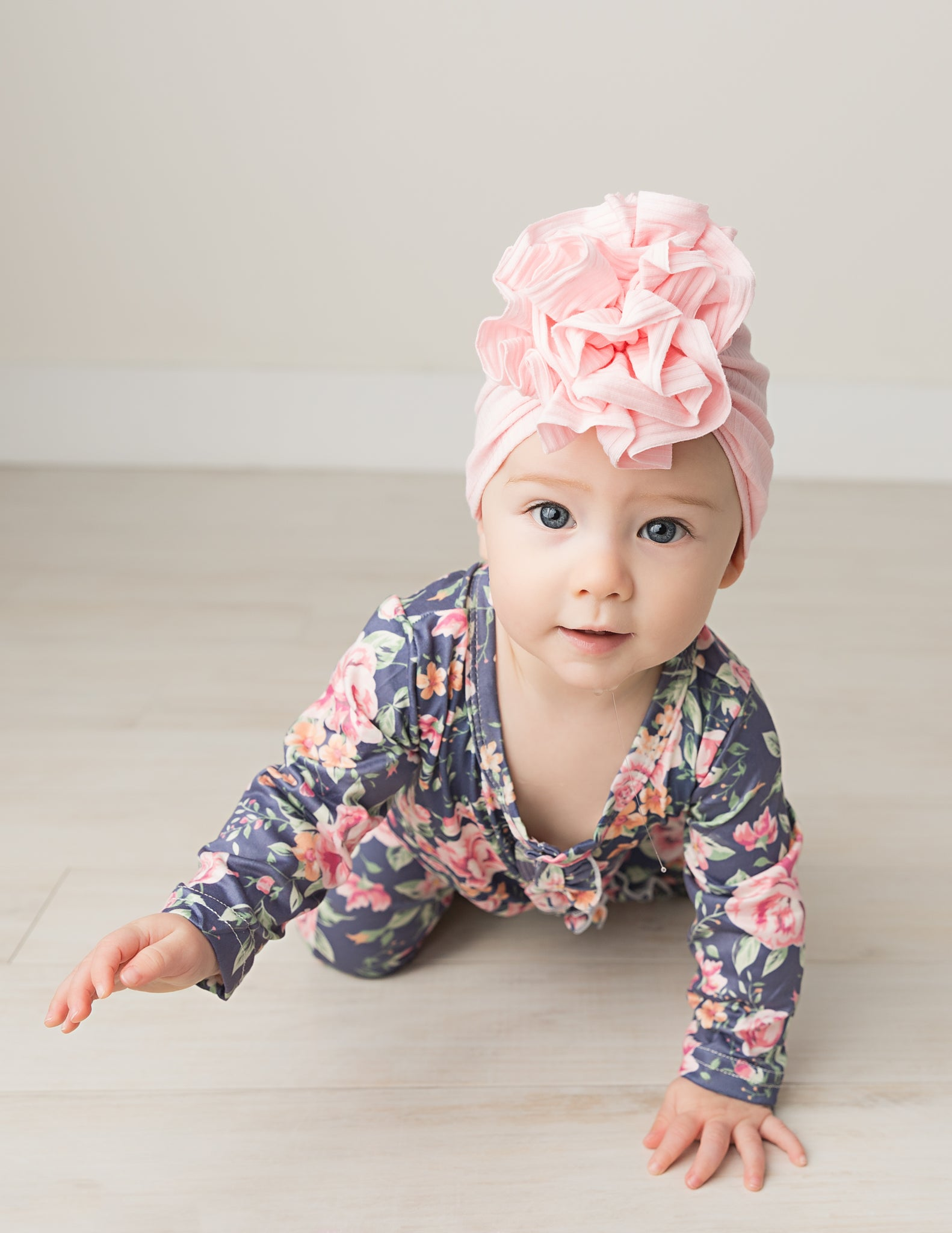 toddler in baby pink ribbed flower turban