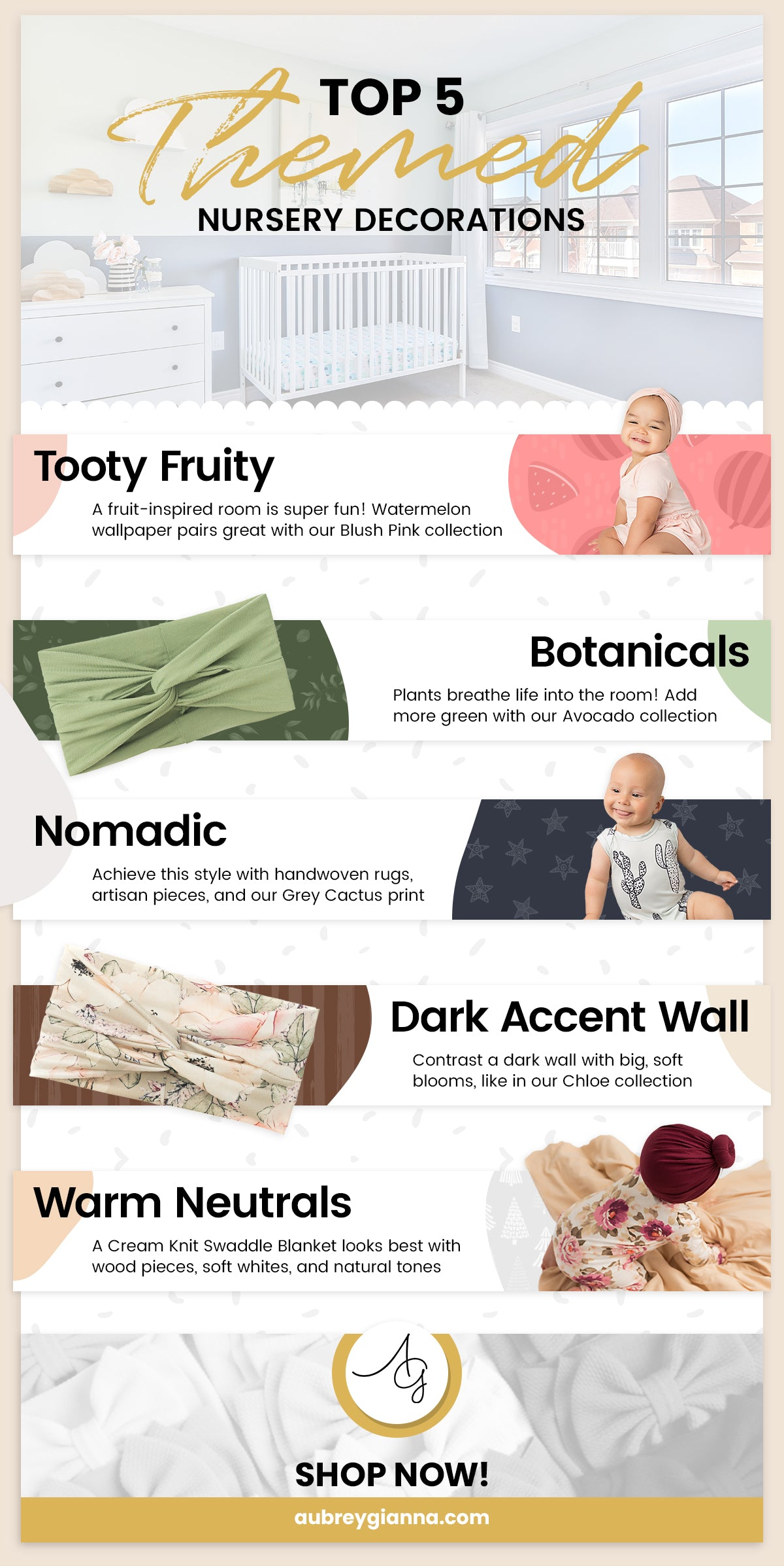 top five themed nursery decorations of 2020 infographic