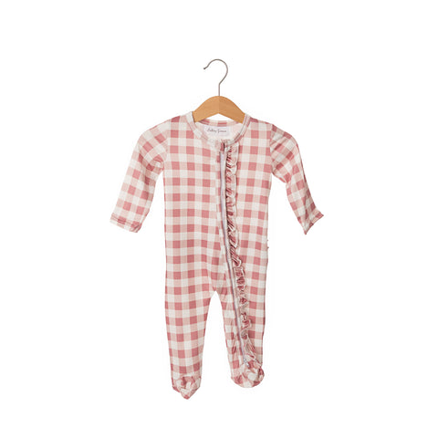 Gingham Blush Ruffled Butt Zipper One-Piece