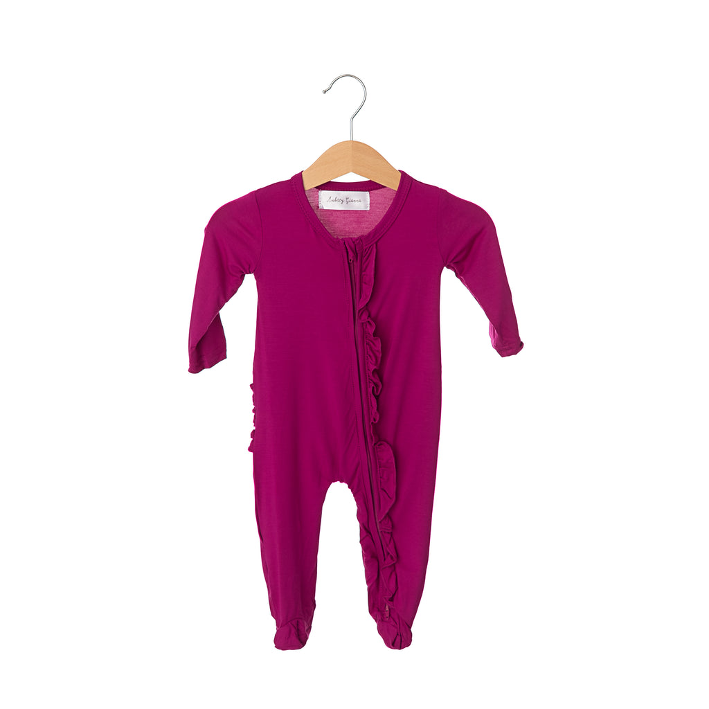 Winterberry Bamboo Ruffles Zippered One Piece