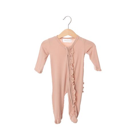 Dusty Pink Bamboo Ruffles Zippered One Piece
