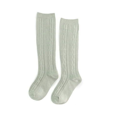 Sage Cable Knit Knee High Socks