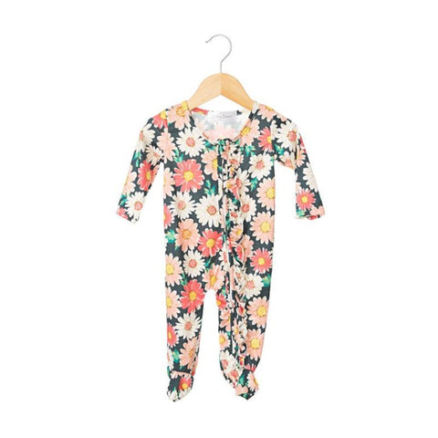 Ella Ruffled Zippered One Piece Footie- Girl