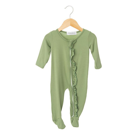 Avocado Ruffled Zippered One Piece Footie-Girl