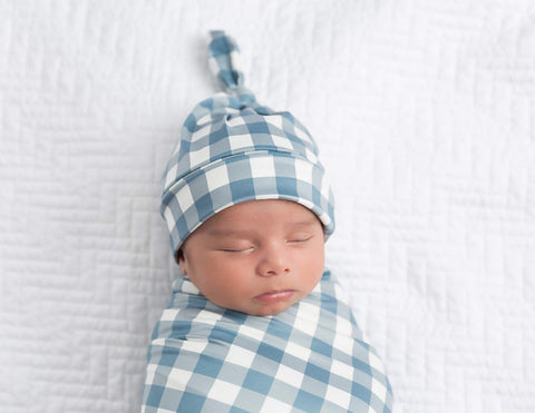 Dusty Blue Gingham Top Knot Hat