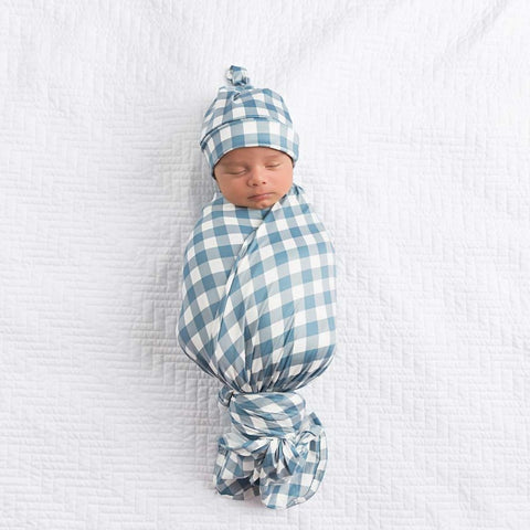 Dusty Blue Gingham Swaddle Blanket