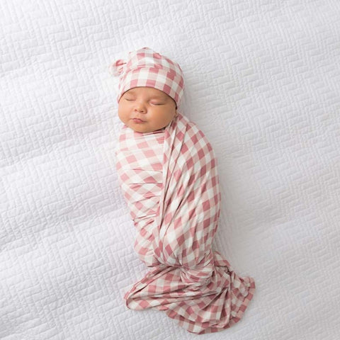 Gingham Blush Swaddle Blanket