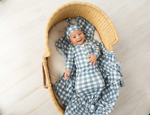 Dusty blue Gingham Knotted Gown