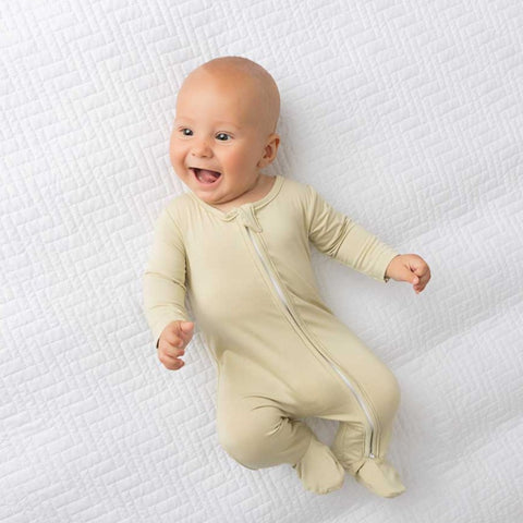 Oat Zippered One Piece Footie- Boy