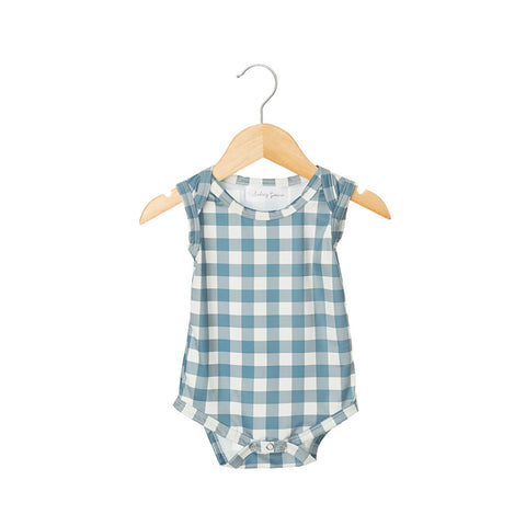 Dusty Blue Gingham Sleeveless Bodysuit