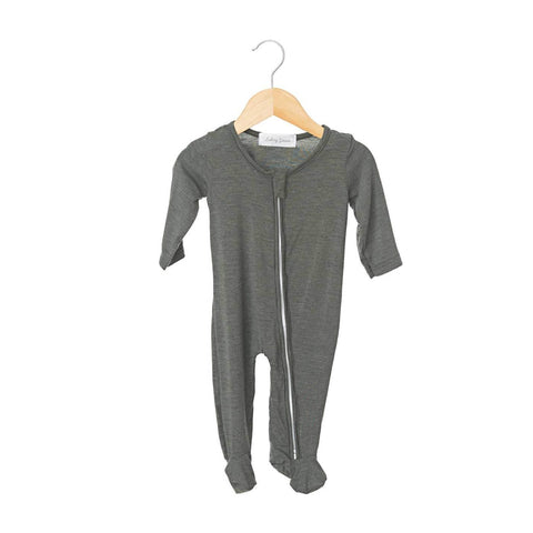 Heather Steel Zippered One Piece Footie- Boy
