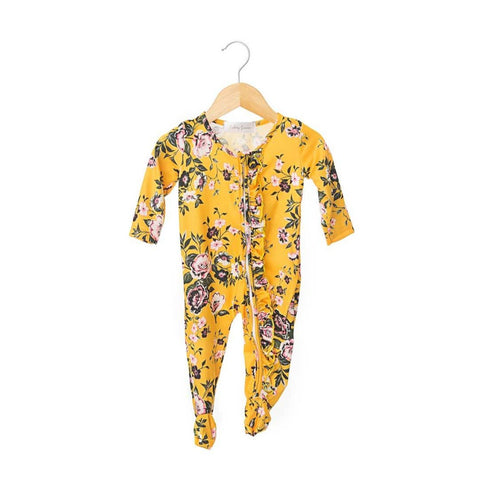 Nora Ruffled Zippered One Piece Footie- Girl