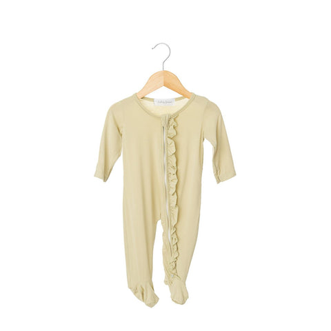 Oat Ruffled Zippered One Piece Footie-Girl