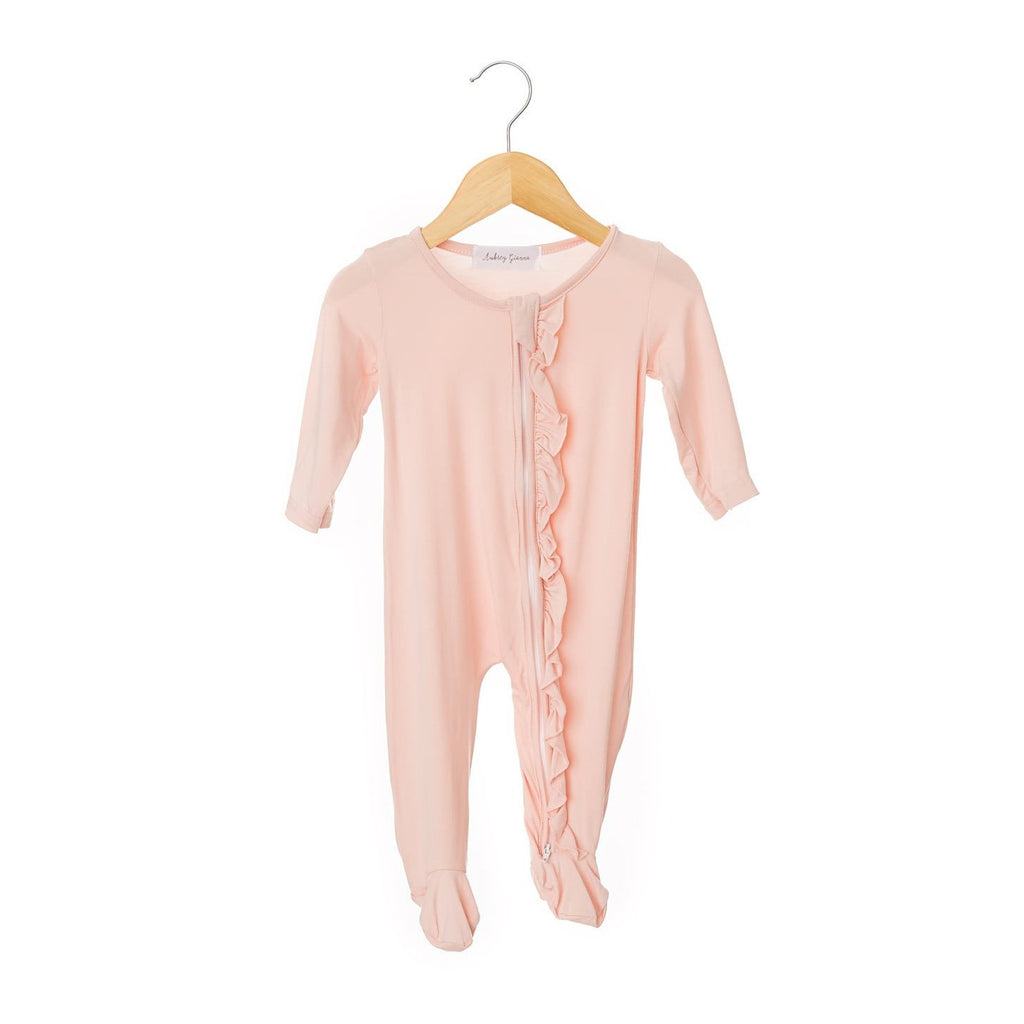 Blush Pink Ruffled Zippered One Piece Footie-Girl