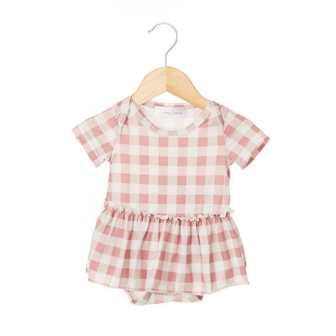 Gingham Blush Short Sleeve Skirted Bodysuit