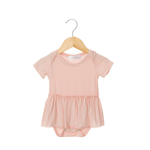 Blush Pink Short Sleeve Skirted Bodysuit